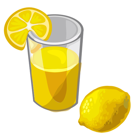 freshly: Glass of freshly squeezed lemon juice and fruit. Vector drinks. Cartoon style. Illustration on a white background for your design needs