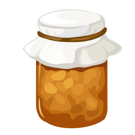 confiture: Jar of homemade jam or marmalade. Vector dessert. Cartoon style. Illustration on a white background for your design needs Illustration