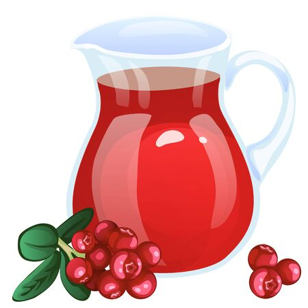 currant: Jug with currant compote. Cartoon style