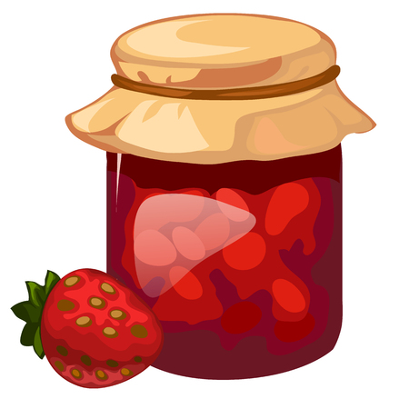 confiture: Jar of homemade strawberry jam. Vector dessert Illustration