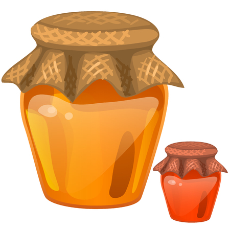 Jar with honey. Vector healthy dessert