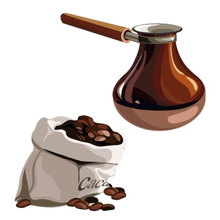 morning rituals: Bag with coffee beans and brown Turk. Vector