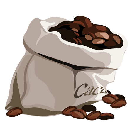 Bag with flavored coffee beans. Vector isolated Illustration