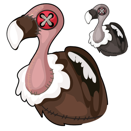 Handmade soft toy vulture. Vector bird