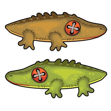 Two handmade soft toys crocodile. Vector animal