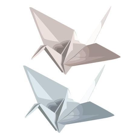 Two cranes of paper in origami style. Vector