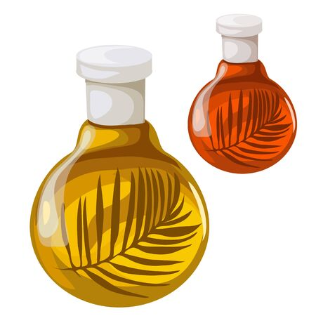 Bottle of oil with herbs. Vector isolated