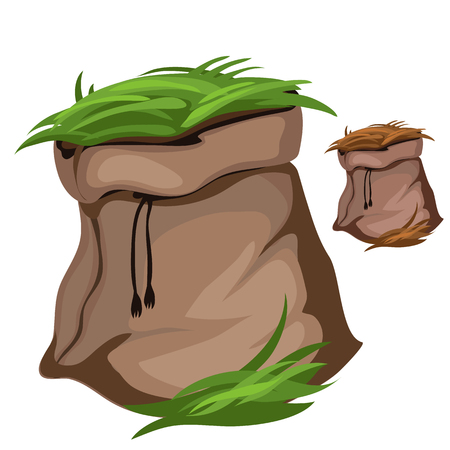 hayfield: Bag with green grass on white background. Vector