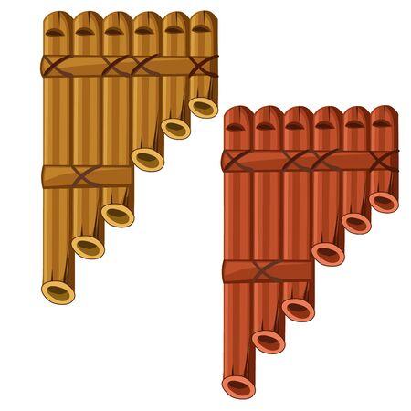 panpipe: Pan flute made of bamboo. Vector illustrator