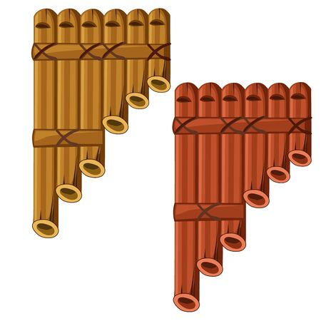 Pan flute made of bamboo. Vector illustrator