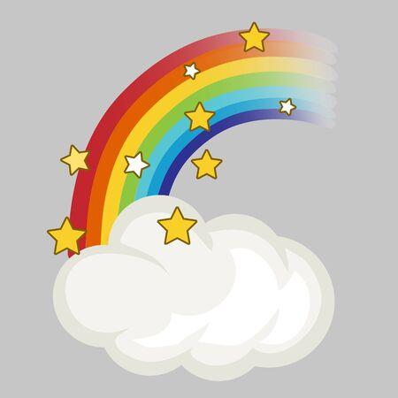 Rainbow, cloud and stars. Vector illustration