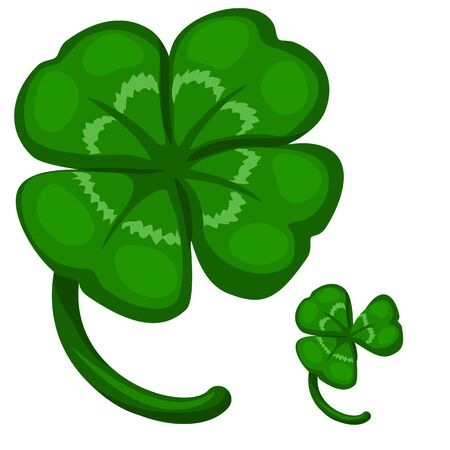 threeleaf: Green leaf clover, symbol of success and good luck. Vector image on white background. Isolated illustration for your design needs Illustration