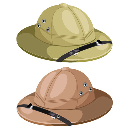 Two classic mens hunting hat. Vector image Illustration