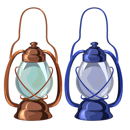 Vintage portable oil lamp in two colors. Vector