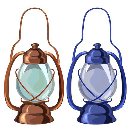 Vintage tragbare Öllampe in zwei Farben. Vektor