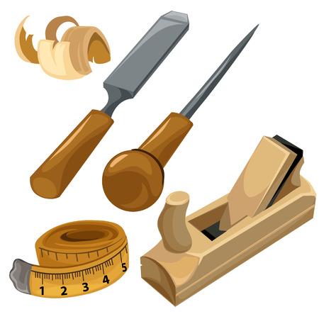 Des outils de travail d'un charpentier. Vector set isolé