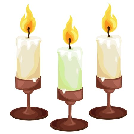 Burning candles in the candleholders. Vector isolated on a white background. Vector isolated illustration for your design needs