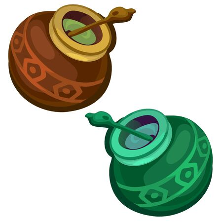 Brown and green gourd with mate tea. Vector
