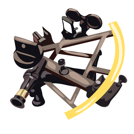 Sextant in cartoon style on white background