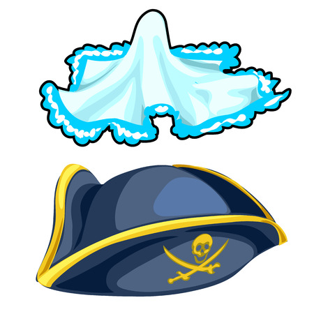 Pirate cocked hat and vintage handkerchief. Vector
