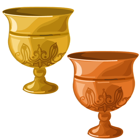 Antique gold and copper bowl. Vector image on white background. Isolated illustration for your design needs