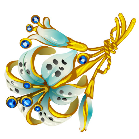 Golden brooch in shape of flower with sapphires