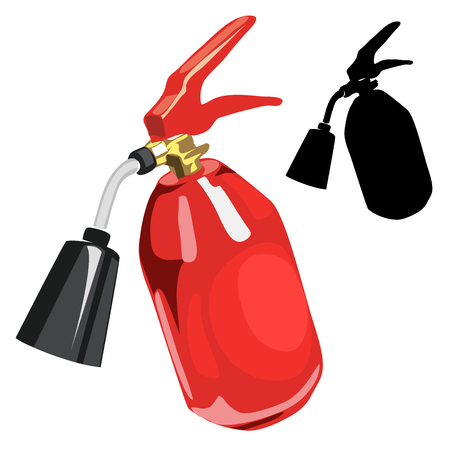 suppression: Red fire extinguisher in cartoon style isolated Illustration