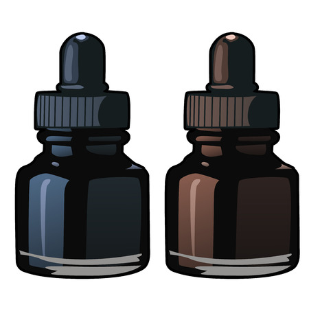 paint container: Blue and brown bottles of ink. Vector isolated Illustration