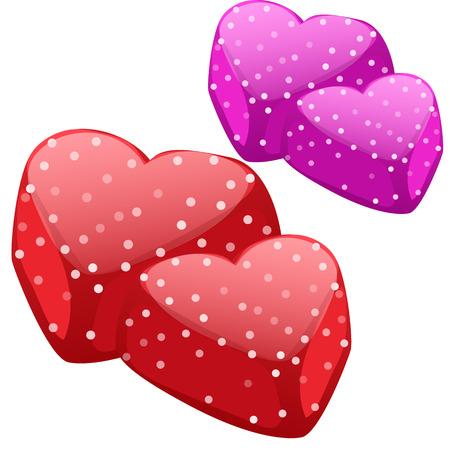 Marmalade in form of hearts. Vector dessert Illustration