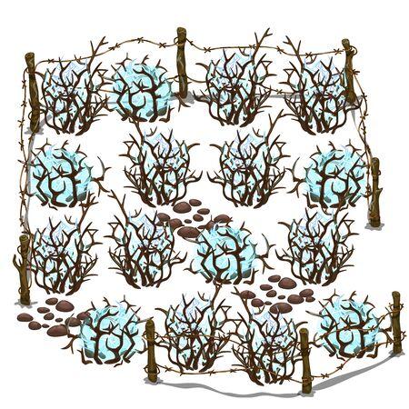 Fenced energy area. Fantastic place, cartoon style
