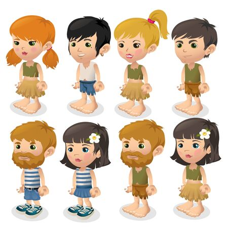 Vector set of boys and girls in summer clothes Illustration