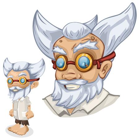 Older male scientist professor, cartoon people