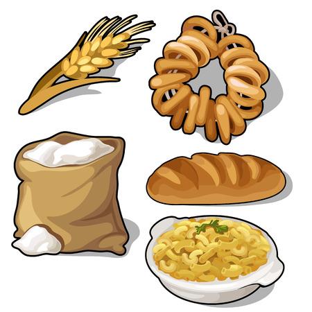 Set di farina, pagnotte, ciambelle, cereali, e l'orecchio