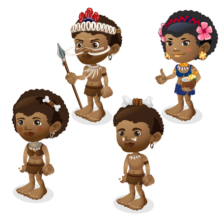headman: Vector set of man and woman in tribes clothes