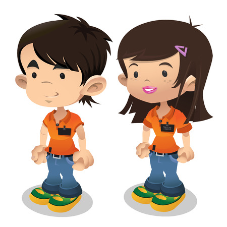 Young man and woman in working clothes. Cartoon people. Image on white background. Isolated illustration for game, animation and other design needs