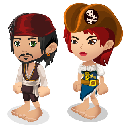 Man and woman in pirate clothes, cartoon people