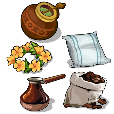 stimulant: Set of mate, coffee, pillow and floral wreath