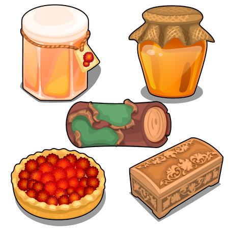 confiture: Berries, jars of jam, vintage box and old scroll
