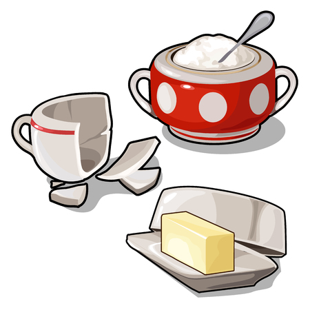 Sugar bowl, butter and broken cup. Vector isolated Illustration