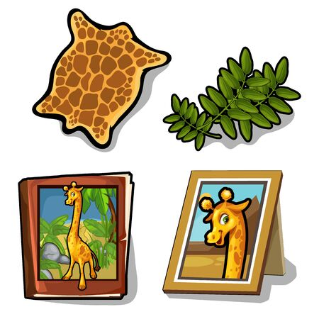 Set isolated of four item on giraffe theme Illustration