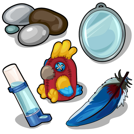 Parrot and accessories therefor. Vector isolated
