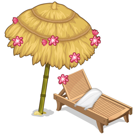 Sun lounger and parasol decorated flowers. Vector
