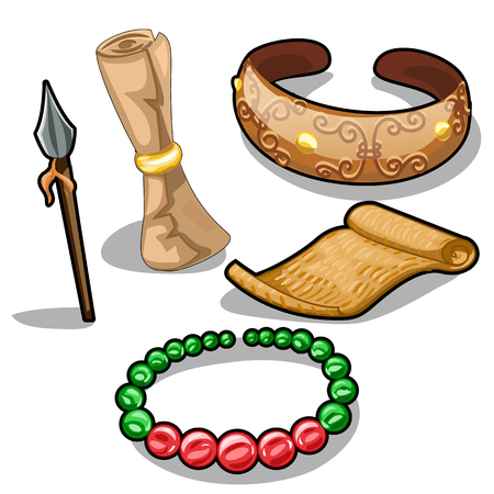 Ancient weapons, characters and jewelry. Vector