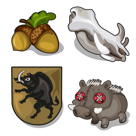 Set isolated of wild boar theme and acorn