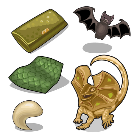 Figure of frill-neck lizard theme and bat