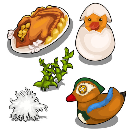 Set of cooked duck, stuffed toy and other items Illustration