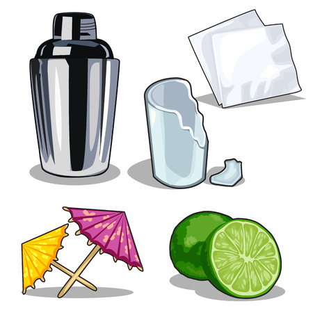 Set for making cocktails with lime. Vector