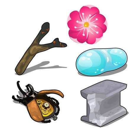 Electronic beetle, flower magic, unusual items Illustration