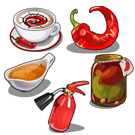 Chile pepper in different forms, fire extinguisher Illustration