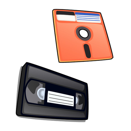 Vintage cassette and diskette. Vector isolated